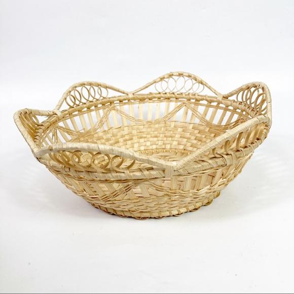 Woven Wicker Rattan Tan Basket Bowl MCM Farmhouse